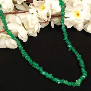 Green Onyx  Natural Crystal Stone Chip Mala with Earring Set for Reiki Healing & Crystal Healing