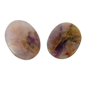 Natural Worry Stone Palm Stone Crystal Cabochons Oval Shape for Reiki Healing and Crystal Healing Stone Pack of 2