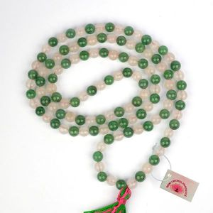 Green + Rose Quartz 6 mm Round Beads Mala & Necklace