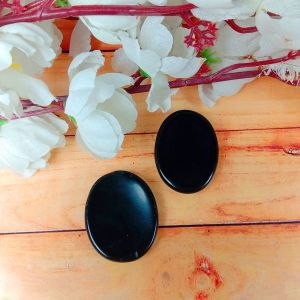 Black Tourmaline Worry -Palm Stone Oval Shape Cabochons Pack of 2 pc
