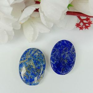 Lapis Lazuli Worry Stone Palm Stone Crystal Cabochons Oval Shape for Reiki Healing and Crystal Healing Stone Pack of 2