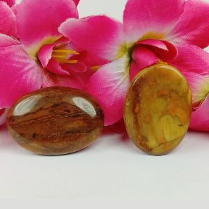 Tiger Eye Worry Stone Palm Stone Crystal Cabochons Oval Shape for Reiki Healing and Crystal Healing Stone Pack of 2