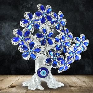 Blue Flower Evil Eye Tree for Good Luck, Gift & Decorative Showpiece