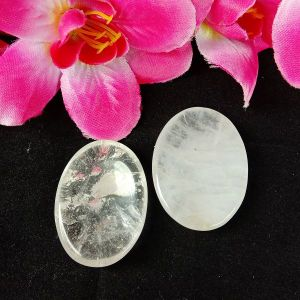 Clear Quartz Worry Stone Palm Stone Crystal Cabochons Oval Shape for Reiki Healing and Crystal Healing Stone Pack of 2