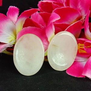 White Agate Worry Stone Palm Stone Crystal Cabochons Oval Shape for Reiki Healing and Crystal Healing Stone Pack of 2