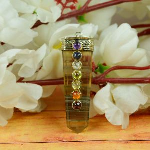 Multi Flourite With 7 Chakra Flat Stick Pendant