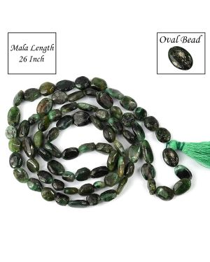 Emerald Oval Bead Mala