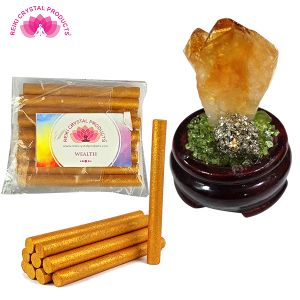 Natural Citrine Stand With Wealth Dhoop
