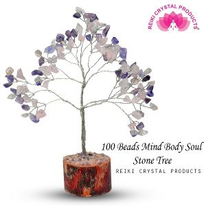 Mind Body Soul Chips Stones 100 Beads Crystal Tree