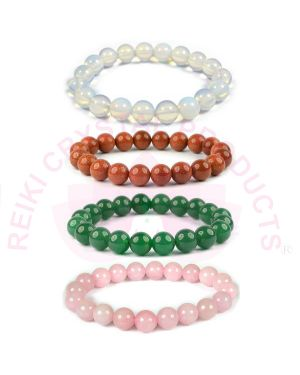 Opalite Goldstone Rose Quartz Green Aventurine 10 mm Bead Bracelet Combo Pack of 4 pc