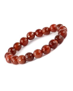Red Onyx 10 mm Faceted Bracelet
