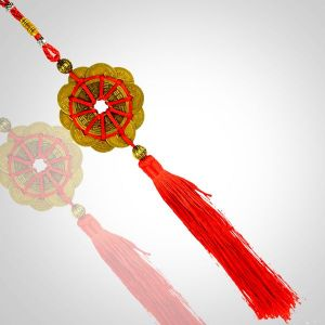 Fengshui 11 Coins Hanging with Red Strings for Good Fortune