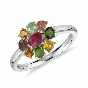 Reiki Crystal Products Multi  Color 9.25 Silver Ring Multi Tourmaline Silver Ring for Women & Girls