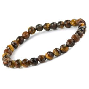 Tiger Eye 6 mm  Faceted Bead Bracelet
