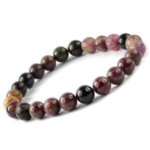 Multi Tourmaline 8 mm Round Bead Bracelet