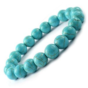 Tourquise Blue 8 mm Round Bead Bracelet