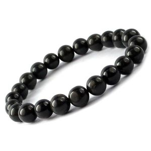 Black Agate 8 mm Round Bead Bracelet