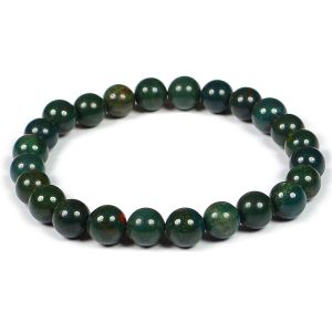 Bloodstone Certified 8 mm Round Bead Bracelet