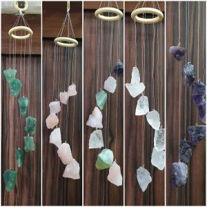 Clear Quartz Raw Rough Agate Wind Chime for Garden Home Decor