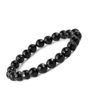 Black Tourmaline 8 mm Facted Bracelet