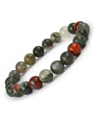 Blood Stone African 8 mm Round Bead Bracelet