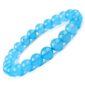 Blue Onyx 8 mm Round Bead Bracelet