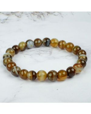 Botswana Agate Brown 8 mm Round Bead Bracelet