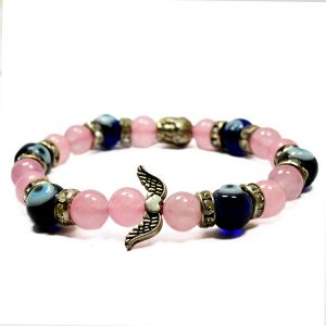 Rose Quartz & Evil Eye With Heand Buddha Angel Feather Bracelet