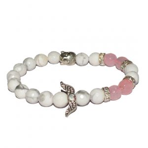 Howlite & Rose Quartz with Head Buddha and Angel Feather Bracelet