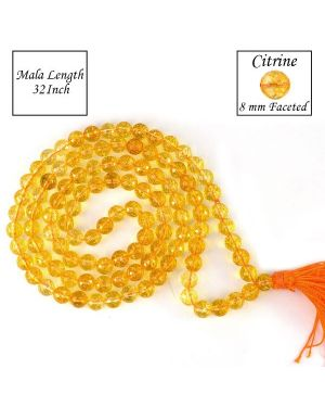 Citrine 8 mm Faceted Bead Mala