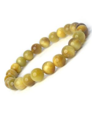 Cat's Eye Golden 8 mm Round Bead Bracelet