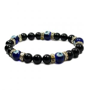 Black Onyx with Evil Eye 8 mm Charm Bracelet