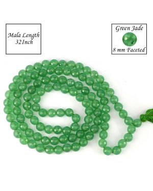 Green Jade 8 mm Faceted Bead Mala