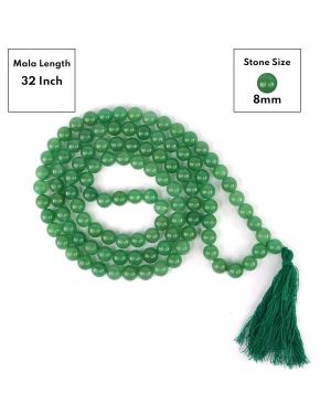Green Jade 8 mm 108 Round Bead Mala