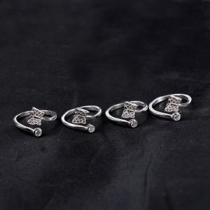 Reiki Crystal Products 92.5 Sterling Silver Toe Rings for Women Adjustable Toe Rings Pack of 4