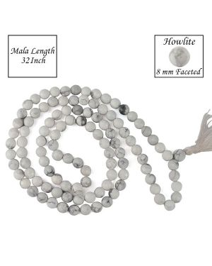 Howlite 8 mm Faceted Bead Mala
