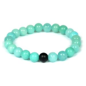 Amazonite with Black Onyx Single Stone Combination 8 mm Bead Bracelet