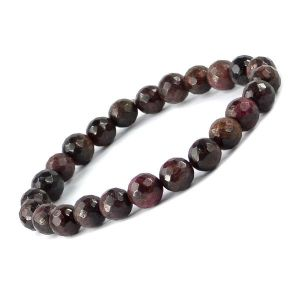 Garnet 8 mm Faceted Bead Bracelet