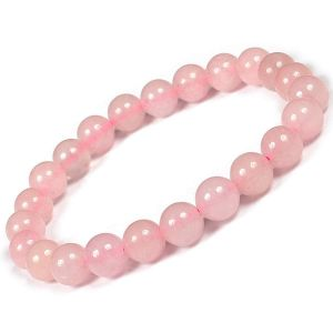 Certified Rose Quartz 8 mm Round Bead Bracelet