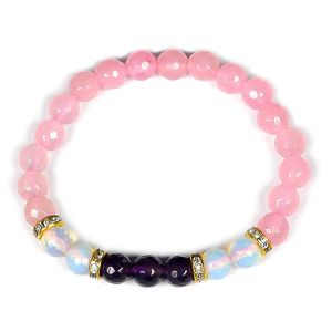 Rose quartz, Amethyst and Opalite beads designer bracelet