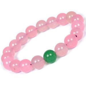 Rose Quartz with Green Aventurine Single Stone 10 mm Round Bead Bracelet