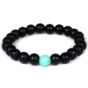 Black Onyx Bracelet with Amazonite Single Compressed Stone Bracelet 8 mm Beads for Reiki Healing