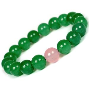 Green Aventurine with Rose Quartz Single Stone 10 mm Round Bead Bracelet