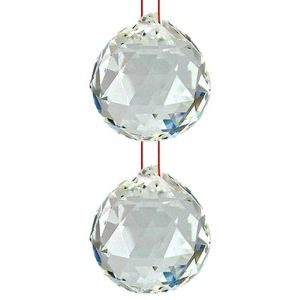 Hanging Glass Ball Sun Catcher Rainbow Prism Glass Ornament Feng-Shui for Good-Luck, Positivity, Happy Vibes and Home Decor with Red Thread, Pack of 2