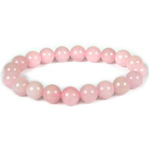 Rose Quartz Certified 10 mm Round Bead Bracelet