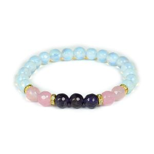 Rose Quartz, Amethyst, Opalite Faceted Bead 8 mm Bracelet