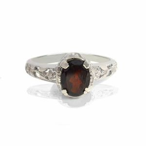 Red Color 9.25 Silver Ring Garnet Silver Ring for Women & Girls