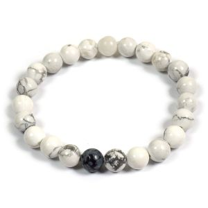Howlite Bracelet with Snowflake Obsidian Single Stone Combination 8 mm