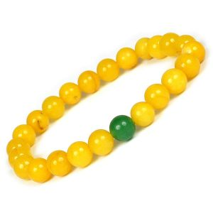 Yellow Jade with Green Jade Single Stone Combination 8 mm Bead Bracelet