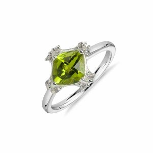 Reiki Crystal Products 9.25 Silver Ring Peridot Silver Ring for Women (Color : Green)